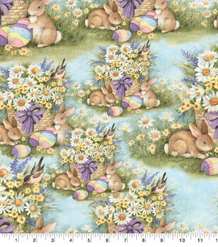 Susan Winget Easter Cotton Fabric -Garden Bunnies