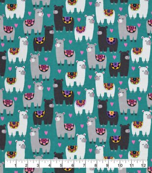 Valentine's Day Snuggle Flannel Fabric-Sassy Llamas on Blue