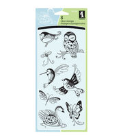 Inkadinkado Clear Stamps-Patterned Birds&Bugs, , hi-res