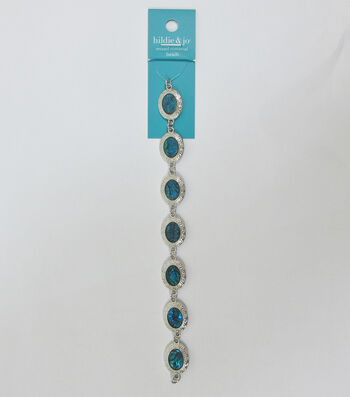 hildie & jo 7'' Oval Shell & Metal Strung Beads-Silver & Blue