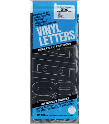 Duro Decal 48 Pk 6'' Permanent Adhesive Vinyl Letters & Numbers-Black
