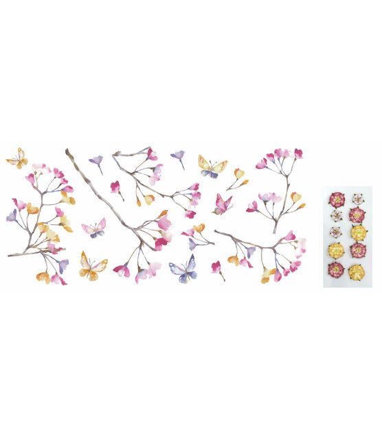York Wallcoverings Wall Decals Pastel Flowers Branch, , hi-res, image 1