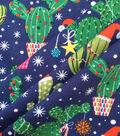 Doodles Christmas Cotton Fabric 57\u0022-Dark Blue Holiday Cacti