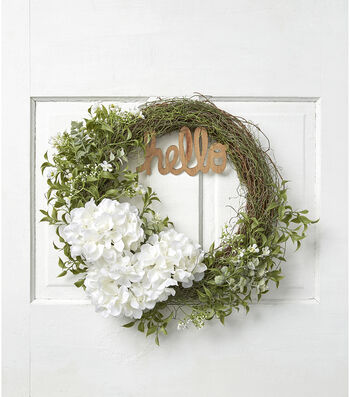 Fresh Picked Spring 20.5'' Hydrangea, Twig & Leaves Wreath with Hello