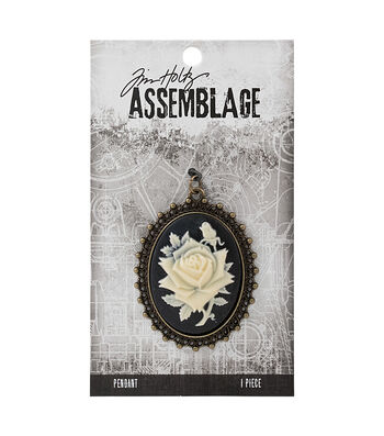 Tim Holtz Assemblage Rose Cameo Pendant