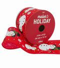 Maker\u0027s Holiday Christmas Ribbon 2.5\u0027\u0027x25\u0027-Snowmen on Red