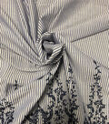 Endless Sea Embroidered Border Cotton Fabric 45\u0022-Blue & White Stripe