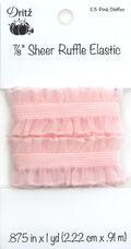 Dritz 7/8\u0022 Sheer Chiffon Ruffle Elastic 1yd-Pink