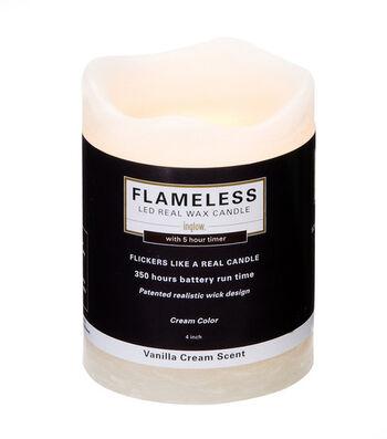 Inglow 3X4In Pillar Cream Flameless