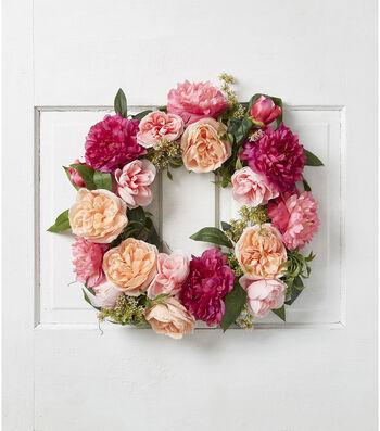 Fresh Picked Summer Peony & Rose Wreath-Fuchsia & Pink