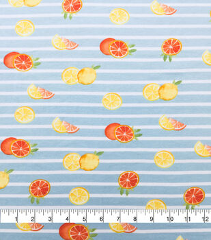 Doodles Cotton Spandex Interlock Knit Fabric-Mint Stripe Citrus Slices