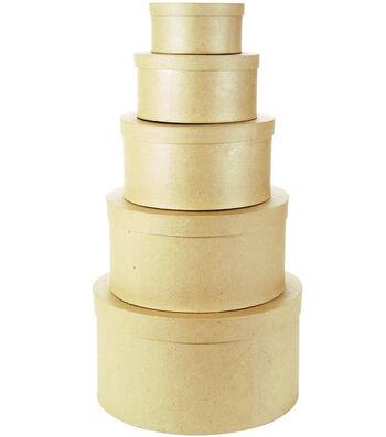Darice 5 pk Round Paper Mache Boxes