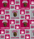 University of Montana Grizzlies Cotton Fabric -Red & Gray Block