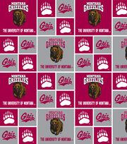 "University of Montana Grizzlies Cotton Fabric 43""-Red & Gray Block, , hi-res"
