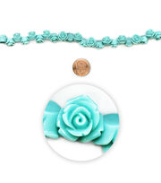 "Blue Moon Beads 7"" Strand, Acrylic Carved Rose, Turquoise, , hi-res"