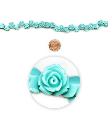 """Blue Moon Beads 7"""" Strand, Acrylic Carved Rose, Turquoise"""