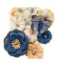 Prima Marketing Georgia Blues Mulberry Paper Flowers 10/Pkg-Madison