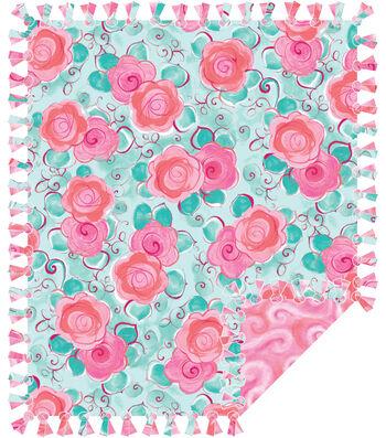 No Sew Fleece Throw 72''-Floral & Swirls