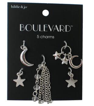 hildie & jo Boulevard 5 Pack Moon & Star Silver Charms