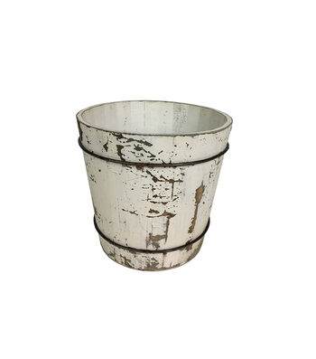 Blooming Holiday Farm Large Wood Barrel-Antique White