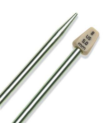 """Susan Bates Single Pt. 14"""" Silvalume Knitting Needle size 8"""