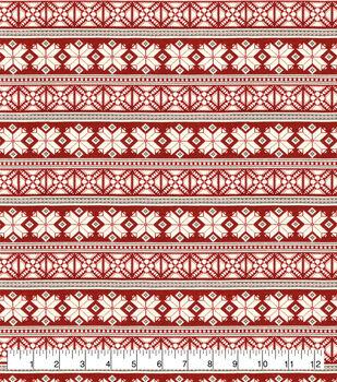 Super Snuggle Flannel Fabric-Red Fairisle