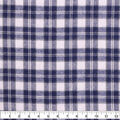 Flannel Shirting Fabric-Ivory Navy Green Small Plaid