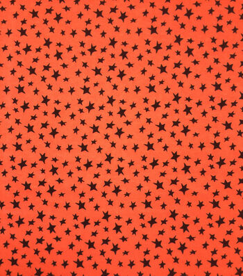 "Halloween Cotton Interlock Fabric 57""-Orange & Black Stars"