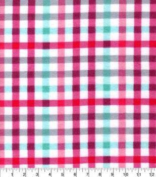 Snuggle Flannel Fabric-Beetroot & Aqua Plaid