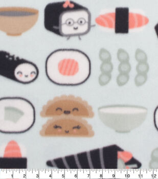 Blizzard Fleece Fabric-Happy Sushi