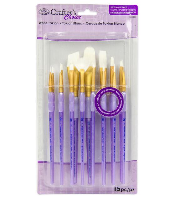 Royal & Langnickel Variety Brush Set 15pk White Taklon, , hi-res, image 1