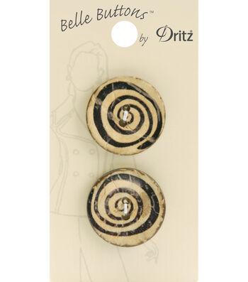 Belle Button-Natural Light Wood Swirl 25Mm
