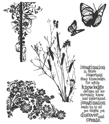 Tim Holtz Cling Rubber Stamp Set-Nature's Discovery