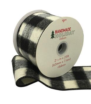 Handmade Holiday Flannel Ribbon 2.5''x25'-Black & White Buffalo Checks