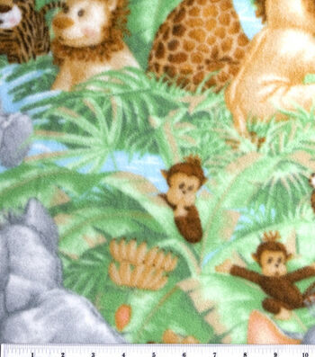 Nursery Fleece Fabric -Jungle Baby Animals