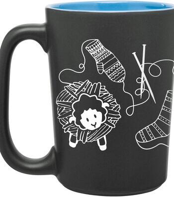 Knit Happy ScriBubblees Mug 10oz-Blue