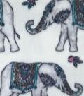 Anti-Pill Fleece Fabric -Wildflower Elephants