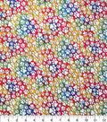 Novelty Cotton Fabric-White Paw Prints on Tie Dye