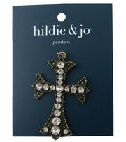 hildie & jo 2.5''x1.63'' Cross Antique Gold Pendant-Clear Crystal, , hi-res