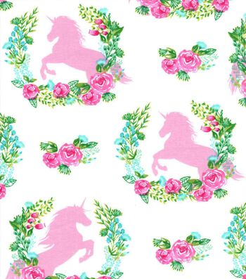 Nursery Cotton Fabric 43''-Unicorn & Floral Spray
