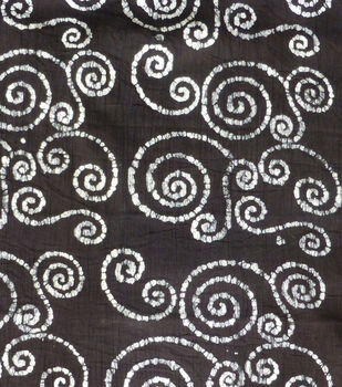 Textured Cotton Batik Apparel Fabric-White Swirls on Black