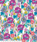 Anti-Pill Fleece Fabric 58\u0022-Grey Watercolor Floral