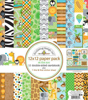 "Doodlebug Double-Sided Paper Pack 12""X12""-At The Zoo"