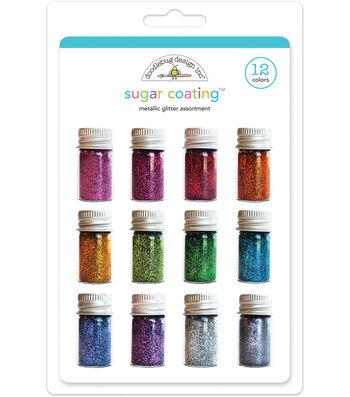 Doodlebug Design Sugar Coating 12 pk Glitter Jars-Metallic Assortment
