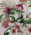Silky Crinkle Rayon Fabric-Pink Green Paradise Floral