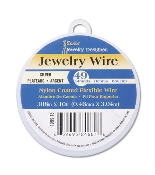 Bright Silver Plated Nylon Coated Jewelry Wire, 49 strands, 10ft.