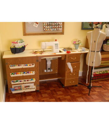 Norma Jean Oak Sewing Cabinet