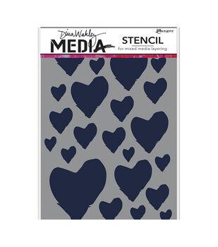 "Dina Wakley Media Stencils 9""X6""-Best Hearts"
