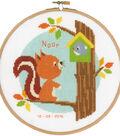 Vervaco 8\u0027\u0027 Round Counted Cross Stitch Kit-Squirrel in Tree Birth Record
