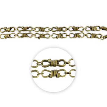 "Blue Moon Beads Strand 14""Metal Chain, Rope Twist Link, Ox Brass"